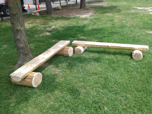 Play Equipment Wooden Benches
