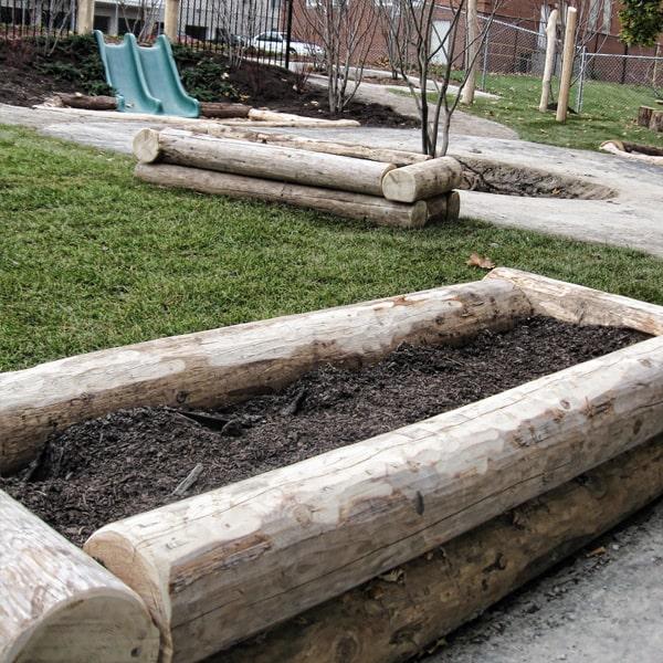 Play Equipment Log Planter