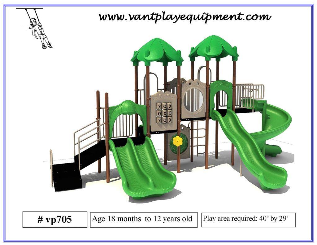 Play Equipment 4 Slides Spiral Slide Green