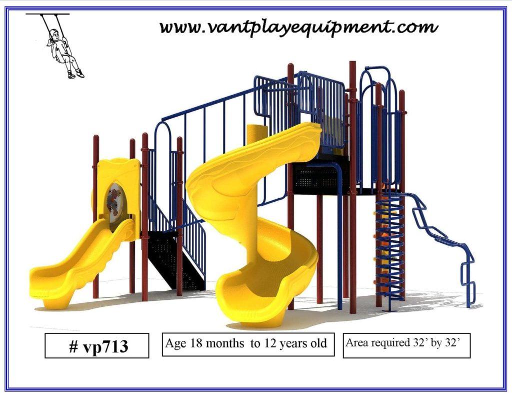 Play Equipment Large 2 Slides Spiral Slide
